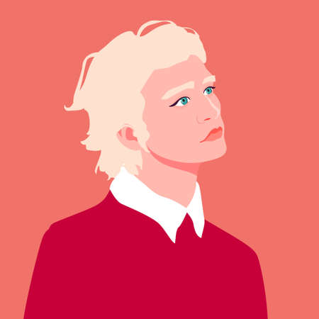Portrait of a young man with curly blond hair. Male profile. Fashion and beauty. Bright vector illustration in flat style. Illustration