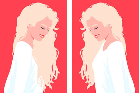 Portrait of a woman with long blonde hair. Female profile. Fashion and beauty. Bright vector illustration in flat style. Illustration