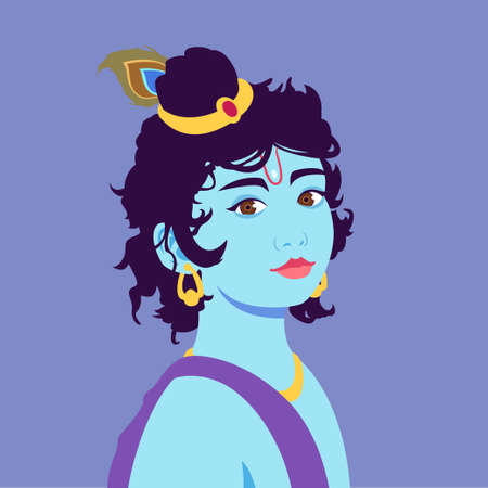 Portrait of little Krishna. Happy krishna janmashtami. Illustration