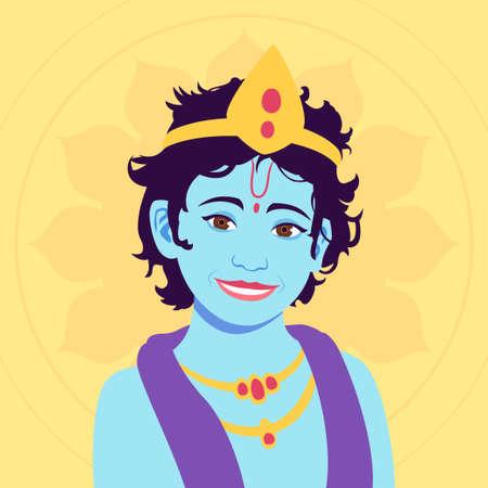 Portrait of little Krishna. Happy krishna janmashtami. Stock Vector - 151880101