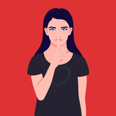 Portrait of a girl gestures for silence quiet with finger to lips Illustration
