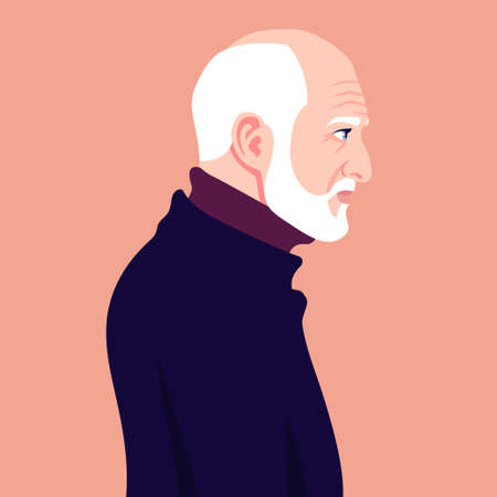 The head of a bald old man with a white beard in profile. Illustration