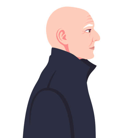 Head of a bald old man in a coat in profile