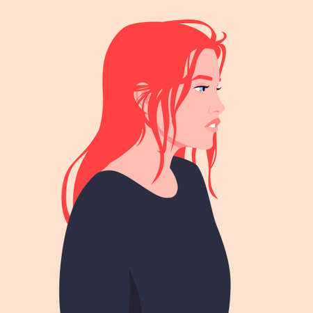 Portrait of a sad young red-haired woman Illustration
