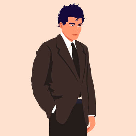 Young businessman in a suit with a hand in his pocket Illustration