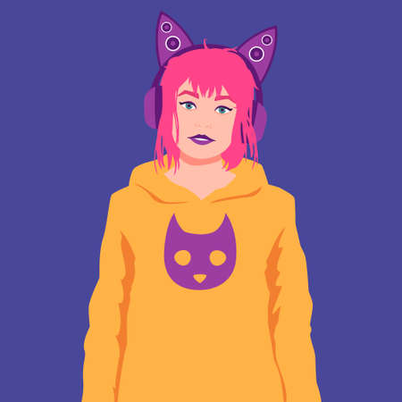 Portrait of a girl in headphones with cat ears