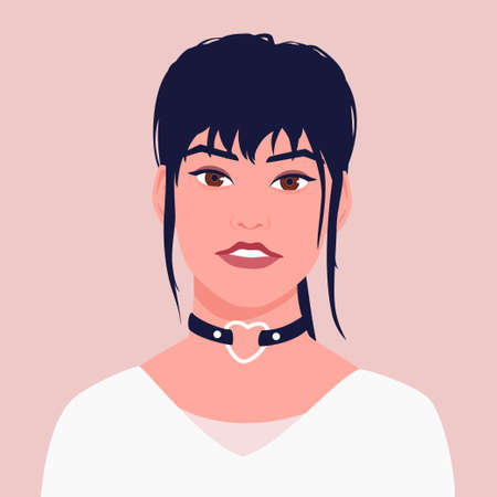 Portrait of a young Asian woman with a choker