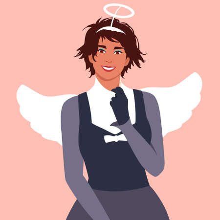 Portrait of a young woman dressed in a halloween angel costume