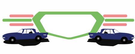 sideways: Icon with two blue car sideways Illustration