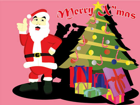 santaclaus: santaclaus with christmas tree and a lot of gift Illustration