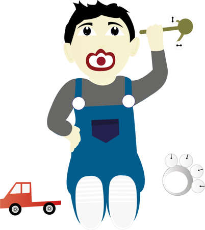 car clothes: baby play with toys Illustration
