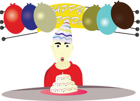 ear nose throat: the boy blowing candles as a birthday celebration Illustration