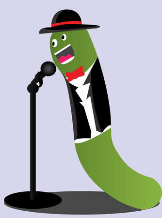 the caterpillar wearing a tuxedo and hat singing