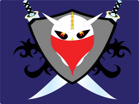 pungent: logo cool skull with two horns on the head and two swords