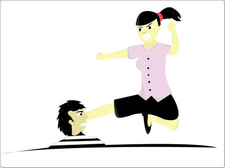mottle: female kicking a mans head was bothering him