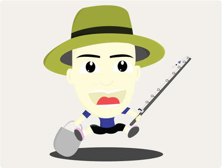 pantaloon: the man is happily holding a fishing rod and bucket Illustration
