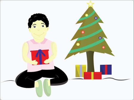 hand on chin: the happy boy got a lot of gifts near a Christmas tree Illustration