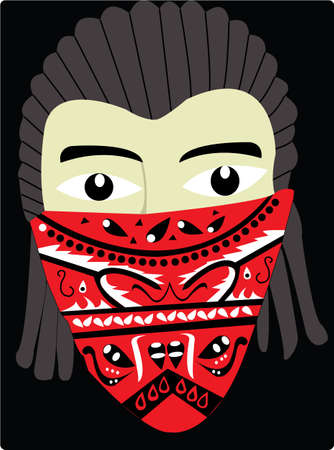 hair mask: the cool conrow man with red bandana Illustration
