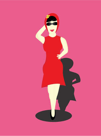 haunch: the woman dressed in red