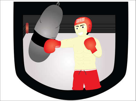 strong chin: the boxer man was practicing using a tug Illustration