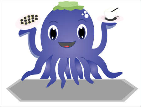 brown rice: The funny octopus Illustration
