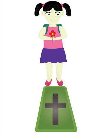 petticoat: the sad girl in a cemetery