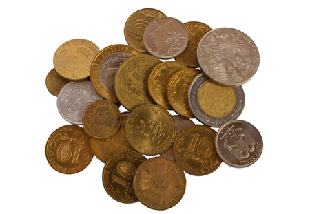debt collection: Lots of coins of different countries on a white background
