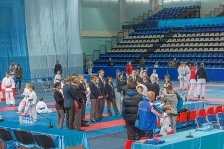 counsel: Judges of men and women in karate counsel before the competition
