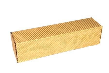 corrugated box: Cardboard rectangular corrugated box on a white background