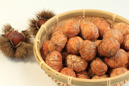 marron: Chestnuts peeled to make a marron glace of Japan Stock Photo