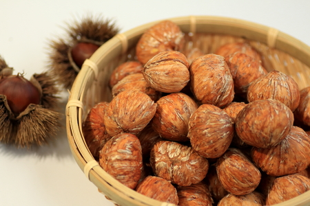 Chestnuts peeled to make a marron glace of Japan Banco de Imagens