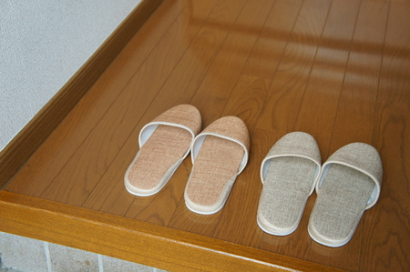 slippers in front of house room entrance,