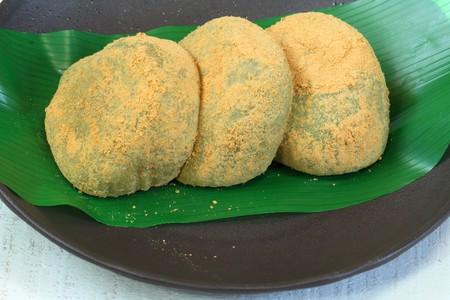 Japanese Mugwort Rice Cake.yellow powder,