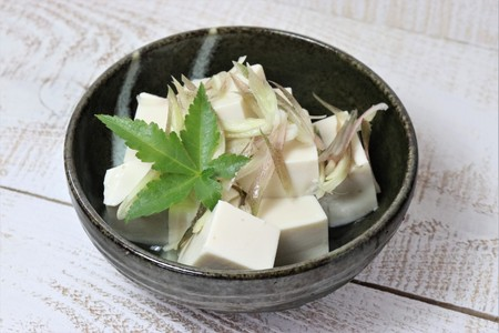 Japanese summer cuisine, Healthy Tofu and ginger Banco de Imagens