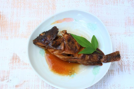 Scorpion fish steamed with soy sauce with ingredient Banco de Imagens