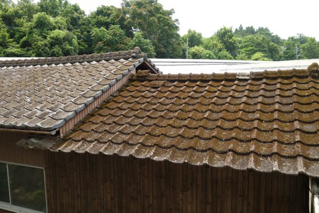 Roof of old cement tiles, japanese Banco de Imagens