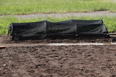 A black mesh made to make vegetables shade and windproof. Plastic mesh Banco de Imagens