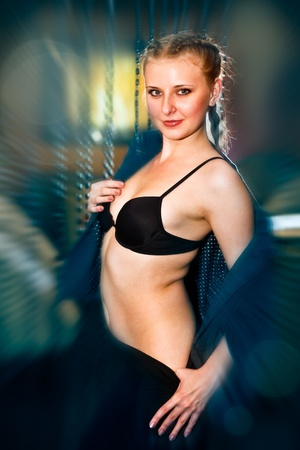 woman dancing provocatively behaving photo