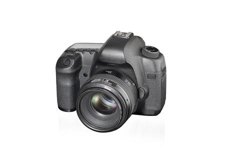 dslr: black fullframe DSLR camera on white background.