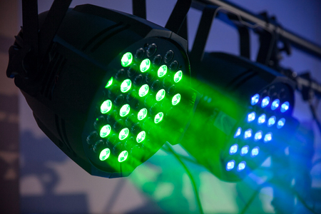 led green and blue concert, naighclub lights with smoke. Closeup. 版權商用圖片