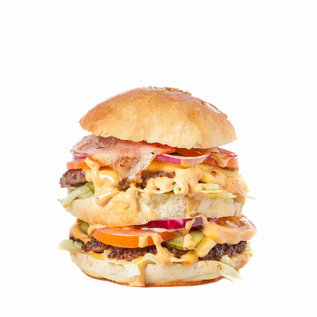 Big hamburger isolated on white background.