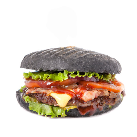 Black hamburger isolated on white background.