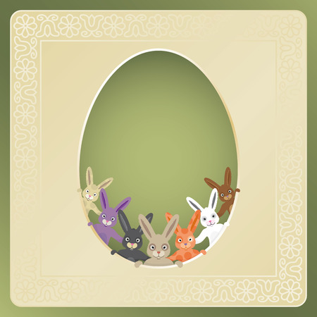 text area: Cute easter greeting card with big empty text area and multicolored bunnies. Illustration