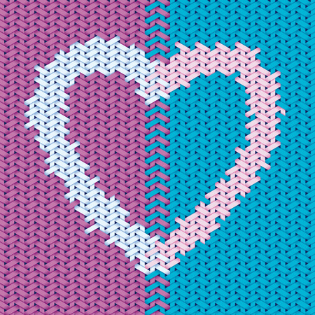 Valentines day design based on embroidery and woven pattern with heart symbol Vector
