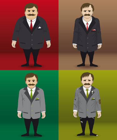 poky: Human character in four different financial situations. Illustration