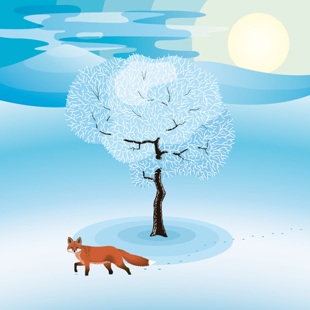 Winter landscape with frozen tree and red fox hanging around Ilustrace