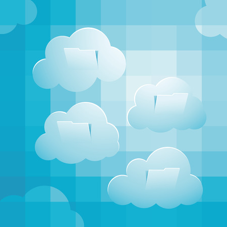 pixelate: Sky computing concept, with pixelate sky, clouds folder sructure