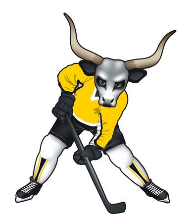 Vector illustration of a bull mascot for ice hockey team or . Illustration