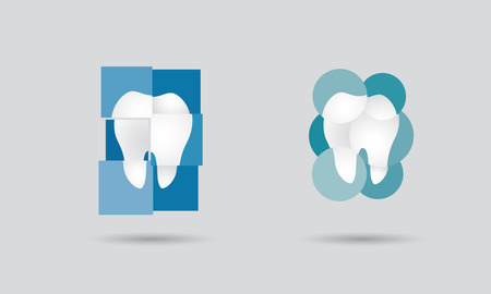 Dental practice, dentistry network or dental services logo set