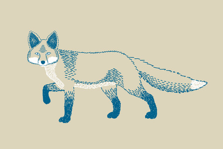 watchful: Monochromatic fox draw Illustration